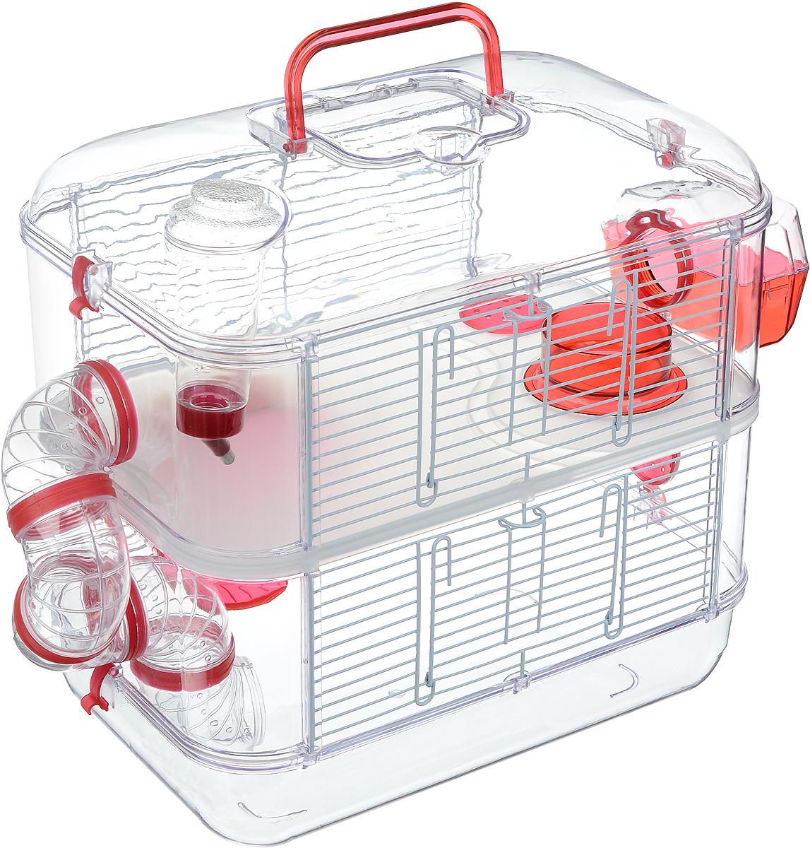 Клетка для грызунов Zolux Rody Duo, 2-ярусная, цвет: прозрачный, вишневый, 40 х 26 х 40 см0120710Просторная клетка для грызунов Zolux Rody Duo будет служить домом и одновременно местом для экстремальных развлечений. В комплект входят бутылочка 170 мл, 1 колесо, 1 кормушка, 1 открытое гнездо, 2 плоских пробок, 5 согнутых труб, 7 соединителей. Также имеется инструкция по сборке на русском языке. Такая клетка станет уединенным личным пространством и уютным домиком для маленького грызуна.