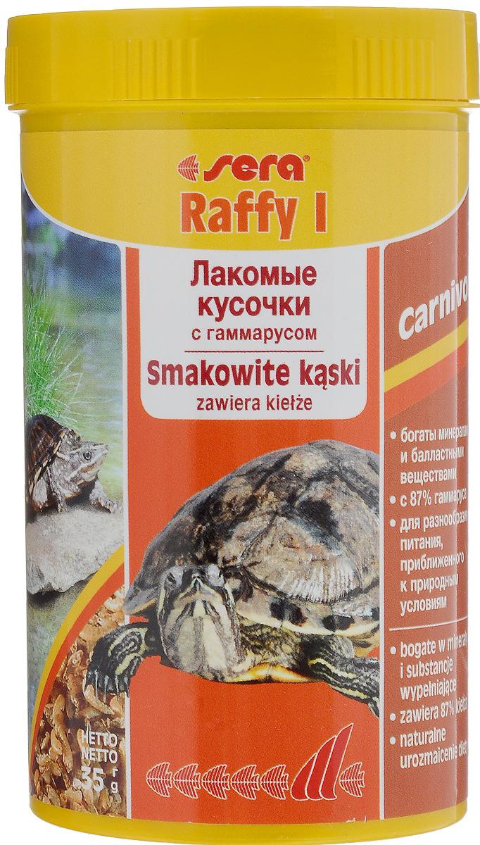 Корм для водных черепах и ящериц Sera Raffy I, 250 мл (35 г)0120710Корм для водных черепах и ящериц Sera Raffy I - это лакомство, состоящее из натурального гаммаруса, маленьких рыбок и криля, высушенных целиком. Идеальный корм для небольших плотоядных рептилий и амфибий (например, водяных черепах, аксолотлей). Корм богат минералами, микроэлементами и балластными веществами, содержит более 4% кальция - основы для здорового роста костей и панциря. Товар сертифицирован.