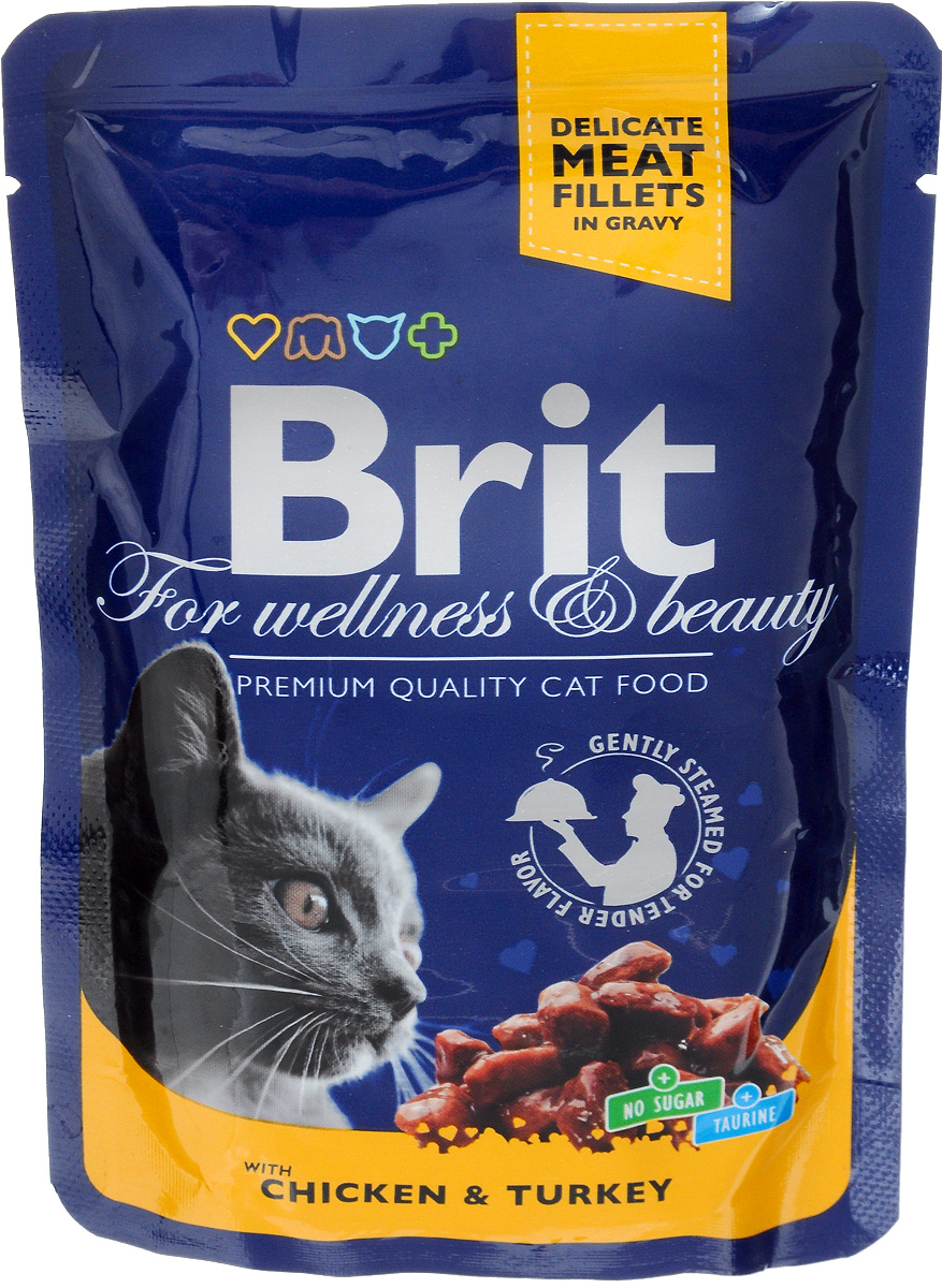 Консервы для кошек Brit Premium, с курицей и индейкой, 100 г0120710Консервы для кошек Brit Premium - влажный корм класса премиум для взрослых кошек с кусочками курицы и индейки. Не содержит красителей, консервантов, сахара. Аналитический состав: белки 8,5%, жиры 4,5%, зола 2,5%, клетчатка 0,4%, влага 82%. Питательные добавки (на 1 кг): витамины D3 250 МЕ, витамин Е 100 мг, цинк 10 мг, марганец 2 мг, йод 0,7 мг, медь 0,2 мг, таурин 450 мг, биотин 0,1 мг. Энергетическая ценность: 82 ккал/100 г. Товар сертифицирован.