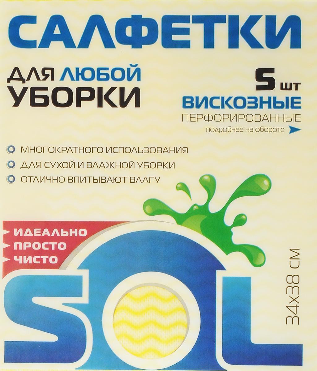 Салфетка для уборки Sol, из вискозы, перфорированная, цвет: желтый, 34 x 38 см, 5 штDAVC150Перфорированные салфетки Sol, выполненные из вискозы, предназначены для сухой и влажной уборки и могут применяться с различными моющими средствами. Благодаря перфорации салфетка быстро высыхает, что позволяет избежать возникновения неприятных запахов. Отлично подходит для полировки различных поверхностей, не оставляет разводов и ворсинок, хорошо впитывает влагу. Рекомендации по уходу: Для обеспечения гигиеничности уборки после применения прополоскать в теплой воде.Для продления срока службы не применять машинную стирку, не гладить и не кипятить.