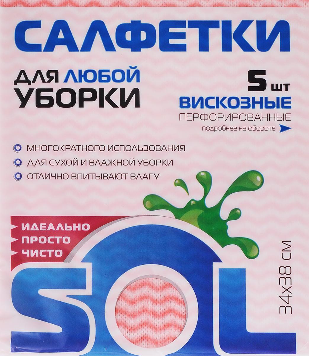 Салфетка для уборки Sol, из вискозы, перфорированная, цвет: розовый, зеленый, 34 x 38 см, 5 шт2.4.02.016Перфорированные салфетки Sol, выполненные из вискозы, предназначены для уборки и могут применяться с различными моющими средствами. Благодаря перфорации салфетка быстро высыхает, что позволяет избежать возникновения неприятных запахов. Отлично подходит для полировки различных поверхностей, не оставляет разводов и ворсинок. Рекомендации по уходу: Для обеспечения гигиеничности уборки после применения прополоскать в теплой воде.Для продления срока службы не применять машинную стирку, не гладить и не кипятить.