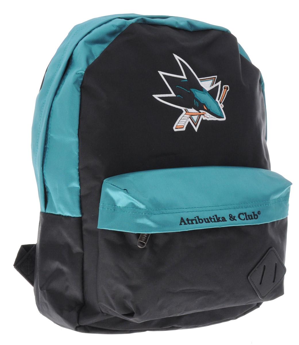 Рюкзак спортивный NHL SJ Sharks, цвет: черный, бирюзовый, 18 лJ30J304671Спортивный рюкзак NHL SJ Sharks выполнен из высококачественного полиэстера. Изделие имеет одно основное отделение, которое закрывается на застежку-молнию двумя бегунками. Спереди расположен большой нашивной карман на застежке-молнии, внутри которого находятся один накладной карман, небольшой карман на молнии и четыре маленьких кармашка для мелочей без застежек. Лямки оснащены специальными фиксаторами длины. Лицевую часть рюкзака украшает логотип хоккейного клуба SJ Sharks.