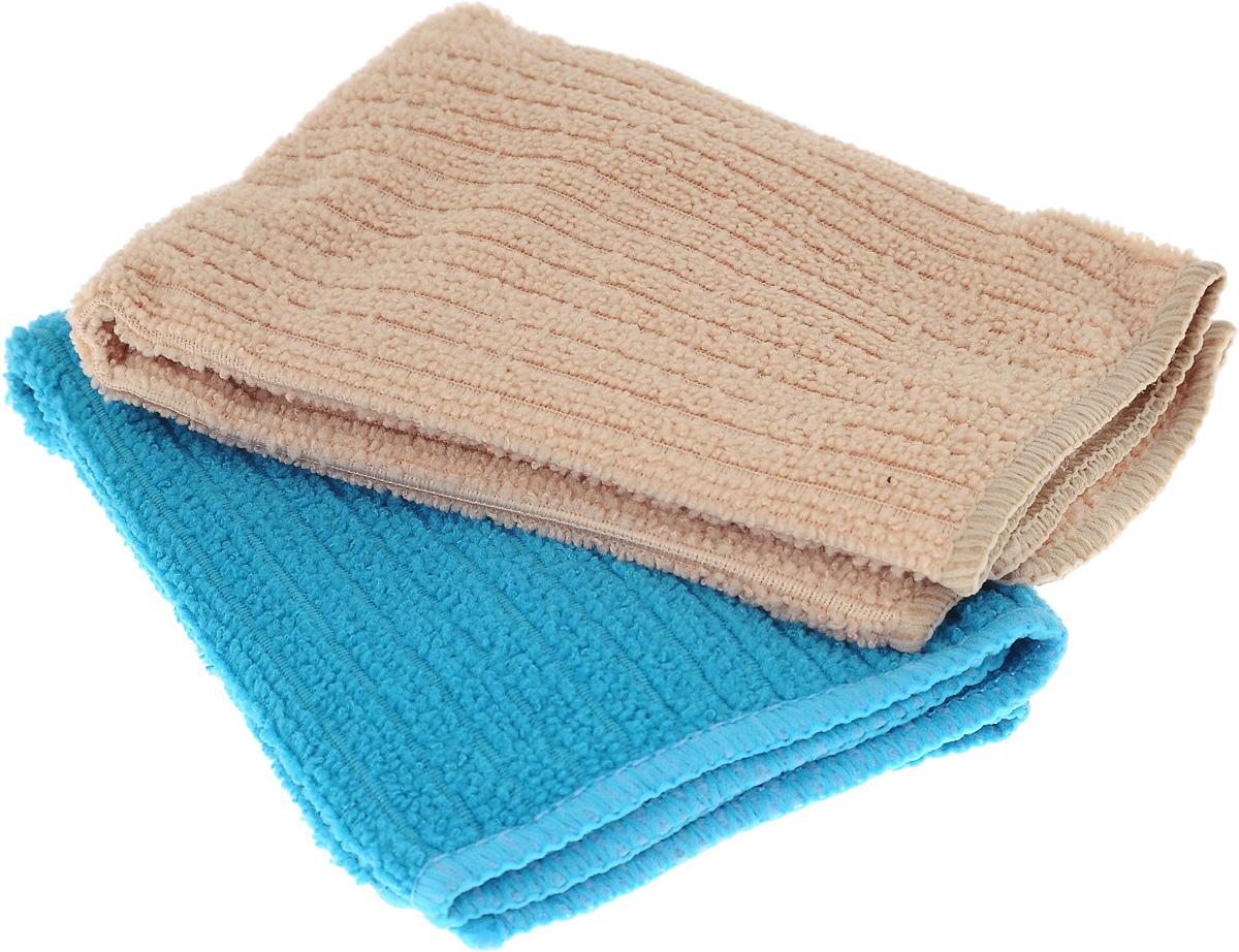 Салфетка из микрофибры Home Queen, цвет: бирюзовый, песочный, 30 х 30 см, 2 шт531-105Салфетка Home Queen изготовлена из микрофибры. Это великолепнаягипоаллергенная ткань, изготовленная из тончайших полимерных микроволокон.Салфетка из микрофибры может поглощать количество пыли и влаги, в 7 разпревышающее ее собственный вес. Многочисленные поры междумикроволокнами, благодаря капиллярному эффекту, мгновенно впитывают воду,подобно губке. Благодаря мелким порам микроволокна, любые капельки,остающиеся на чистящей поверхности, очень быстро испаряются, и остаетсячистая дорожка без полос и разводов. В сухом виде при вытирании поверхностиволокна микрофибры электризуются и притягивают к себе микробы, мельчайшиечастицы пыли и грязи, удерживая их в своих микропорах.