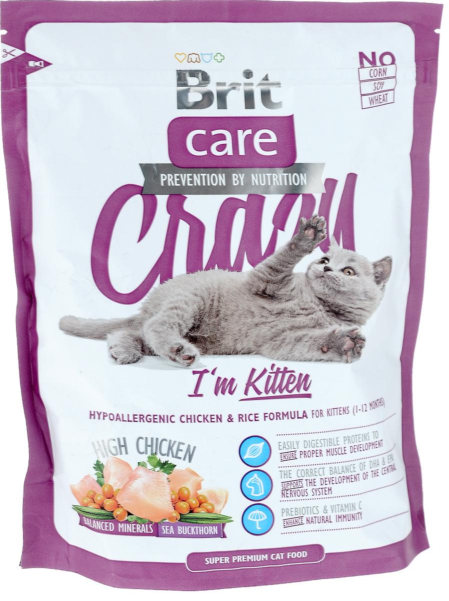 Корм сухой Brit Care Crazy Kitten для котят, беременных и кормящих кошек, с курицей и рисом, 400 г25449Сбалансированный корм Brit Care Crazy Kitten предназначен для котят (от 1 до 12 месяцев), беременных и кормящих кошек с курицей и рисом. Входящие в состав протеины хорошо усваиваются и улучшают развитие мускулатуры. Правильный баланс ДПА и ЭПА поддерживает развитие мозга. Пребиотики и витамин С укрепляют иммунную систему.Преимущества: - Высокое содержание мяса (25% дегидрированной курицы, 22% куриного филе).- Сбалансированный минеральный состав. - Облепиха крушиновидная, обладающая противовоспалительным и антибактериальным действием. А также обеспечивает защиту мочевыводящей системы. - Гипоаллергенный состав. - Витамин С и гексаметафосфат натрия.Товар сертифицирован.