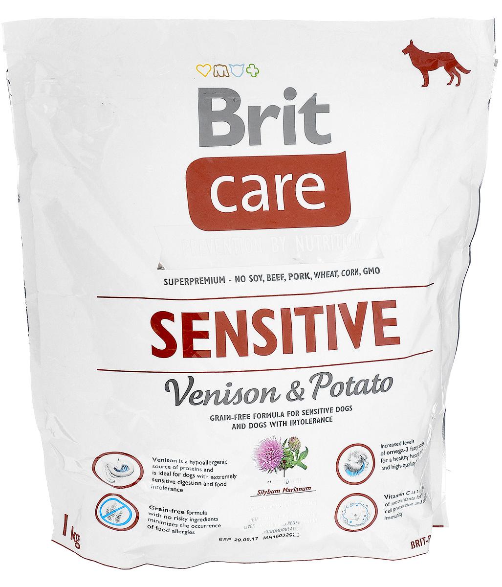 Корм сухой Brit Care Sensitive для собак с чувствительным пищеварением, с олениной и картофелем, 1 кг0120710Сухой полнорационный корм Brit Care Sensitive предназначен для собак с чувствительным пищеварением и при пищевой непереносимости. Специально разработанный состав улучшает баланс микрофлоры кишечника.Товар сертифицирован.