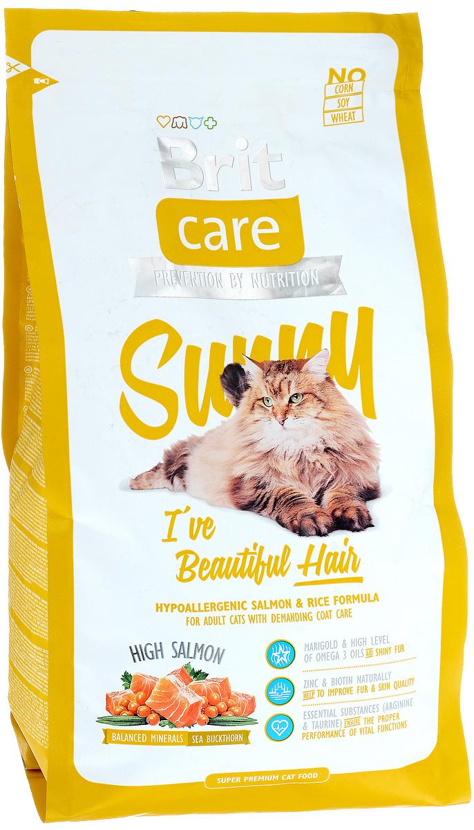Корм сухой Brit Care Sunny для кошек, для ухода за кожей и шерстью, 2 кг0120710Гипоаллергенный корм Brit Care Sunny с мясом лосося и рисом предназначен для взрослых кошек длинношерстных пород или с шерстью, требующей особого ухода. Корм с высокой усвояемостью, с добавлением масла лосося, органического цинка и со сбалансированным содержанием ненасыщенных жирных кислот Омега-3 и Омега-6 для здоровой кожи и красивой, мягкой шерсти.Преимущества:- Высокое содержание мяса.- Сбалансированный минеральный состав.- Гипоаллергенный состав.Товар сертифицирован.