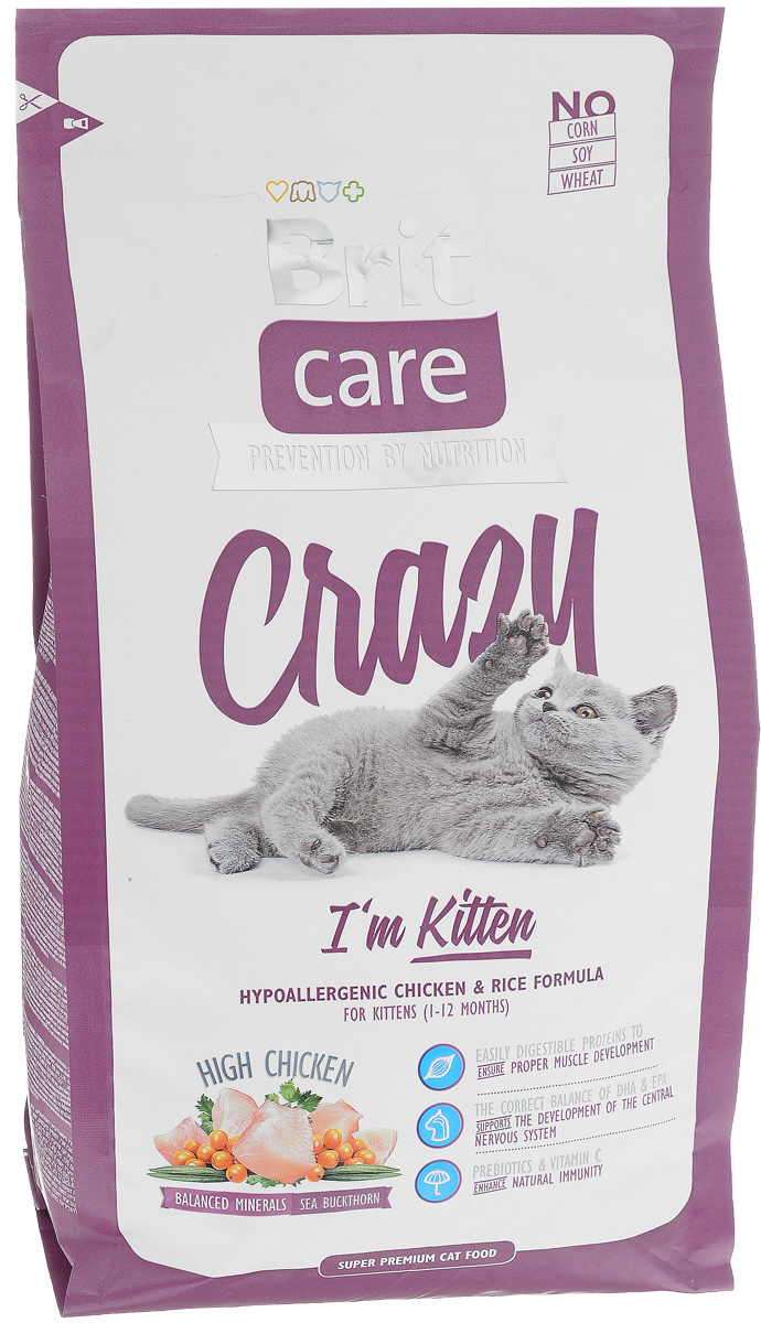 Корм сухой Brit Care Crazy Kitten для котят, беременных и кормящих кошек, с курицей и рисом, 2 кг8595602505524Сбалансированный корм Brit Care Crazy Kitten предназначен для котят (от 1 до 12 месяцев), беременных и кормящих кошек с курицей и рисом. Входящие в состав протеины хорошо усваиваются и улучшают развитие мускулатуры. Правильный баланс ДПА и ЭПА поддерживает развитие мозга. Пребиотики и витамин С укрепляют иммунную систему.Преимущества: - Высокое содержание мяса (25% дегидрированной курицы, 22% куриного филе).- Сбалансированный минеральный состав. - Облепиха крушиновидная, обладающая противовоспалительным и антибактериальным действием. А также обеспечивает защиту мочевыводящей системы. - Гипоаллергенный состав. - Витамин С и гексаметафосфат натрия.Товар сертифицирован.