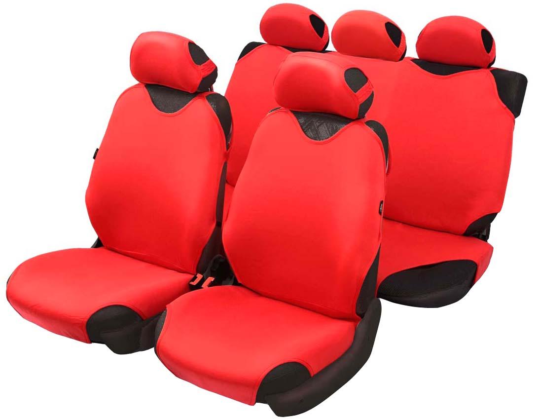 Чехол-майка Azard Cotton, полный комплект, цвет: красный, 4+5 предметов21395599Универсальные чехлы-майки на передние сидения автомобиля. Приятный на ощупь мягкий материал имеет в своем составе 70% хлопка.Чехлы надежно прилегают к автокреслам и не собираются в процессе эксплуатации. Применимы в автомобилях с боковыми подушками безопасности (AIR BAG).Материал триплирован огнеупорным поролоном 2 мм, за счет чего чехол приобретает дополнительную мягкость и устойчивость к возгоранию.Авточехлы майки Azard Cotton износоустойчивы и легко стирается в стиральной машине. Рекомендуется стирка в деликатном режиме.