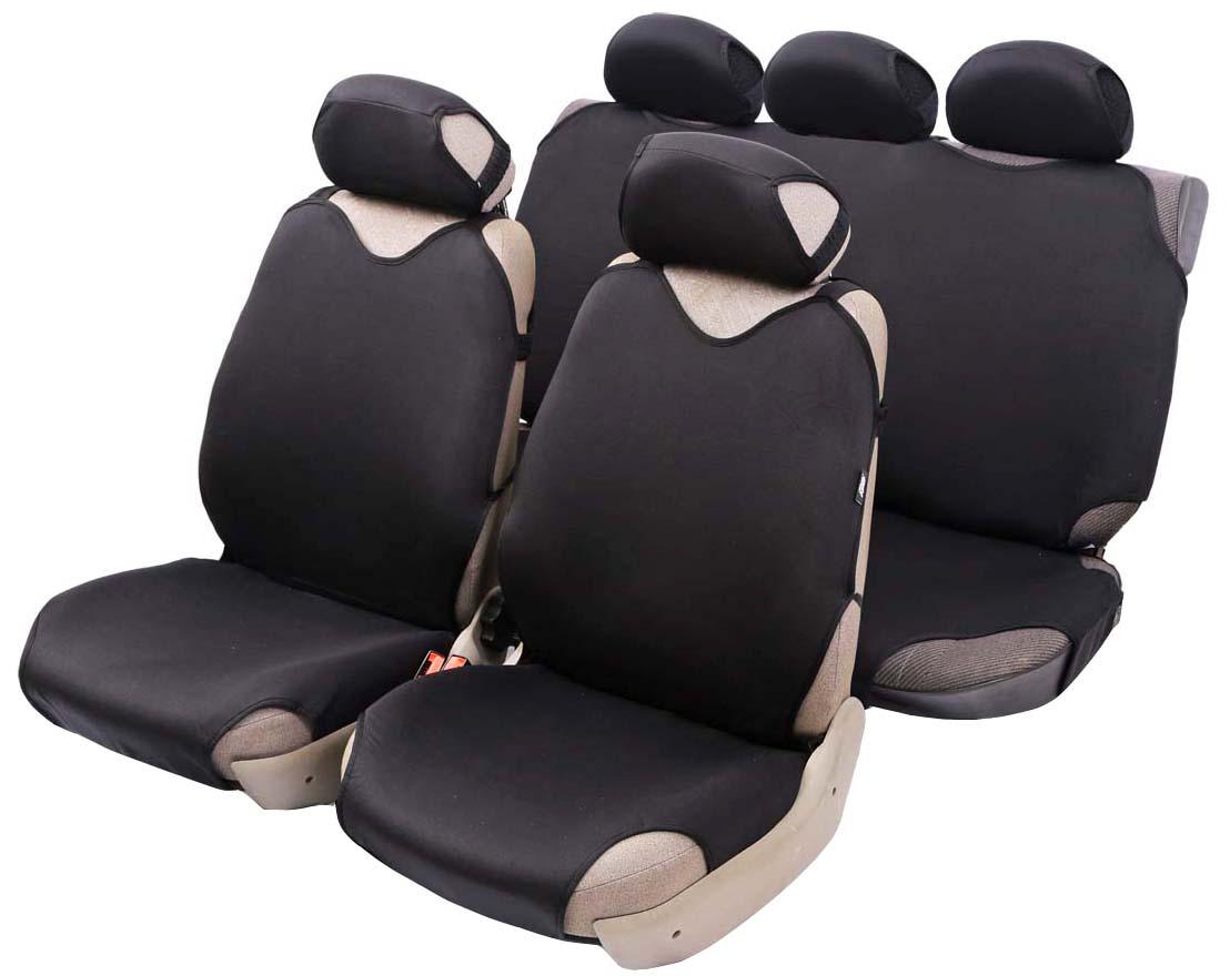 Чехол-майка Azard Cotton, полный комплект, цвет: черный, 4+5 предметовCA-3505Универсальные чехлы-майки на передние сидения автомобиля. Приятный на ощупь мягкий материал имеет в своем составе 70% хлопка.Чехлы надежно прилегают к автокреслам и не собираются в процессе эксплуатации. Применимы в автомобилях с боковыми подушками безопасности (AIR BAG).Материал триплирован огнеупорным поролоном 2 мм, за счет чего чехол приобретает дополнительную мягкость и устойчивость к возгоранию.Авточехлы майки Azard Cotton износоустойчивы и легко стирается в стиральной машине. Рекомендуется стирка в деликатном режиме.
