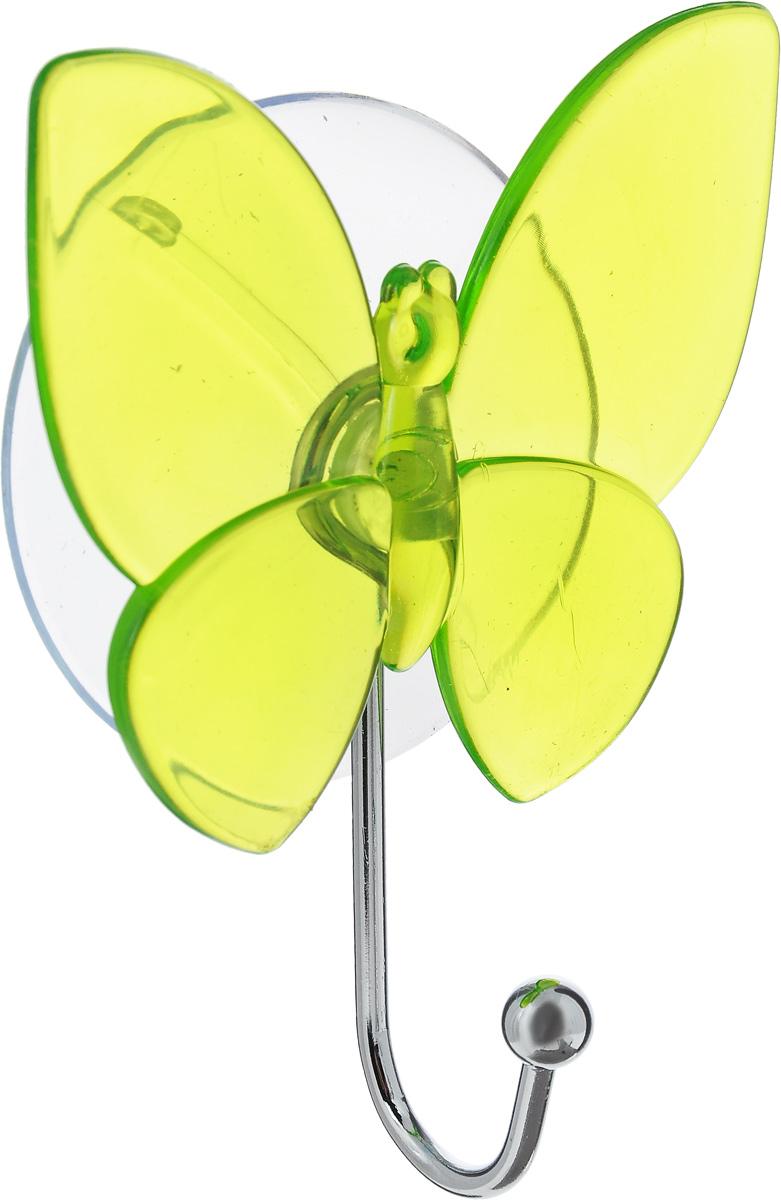 Крючок Top Star Бабочка, на присоске, цвет: зеленый, стальной, 11 х 8 х 3 см68/5/3Крючок Top Star Бабочка изготовлен из хромированной стали и украшен пластиковой вставкой в видебабочки. Крючок крепится к поверхности при помощи присоски. Для надежности крепленияприсоску необходимо устанавливать на гладкой, воздухонепроницаемой, очищенной иобезжиренной поверхности. Такой крючок прекрасно впишется в интерьер ванной комнаты и поможет эффективноорганизовать пространство.