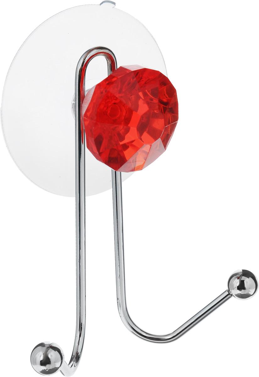Крючок двойной Top Star Kristall, на вакуумной присоске, цвет: красный, стальной, 11 х 8 х 4,5 см391602Крючок Top Star Kristall изготовлен из хромированной стали и украшен пластиковой вставкой в виде кристалла. Крючок крепится к поверхности при помощи присоски. Для надежности крепления присоску необходимо устанавливать на гладкой, воздухонепроницаемой, очищенной и обезжиренной поверхности. Такой крючок прекрасно впишется в интерьер ванной комнаты и поможет эффективно организовать пространство.