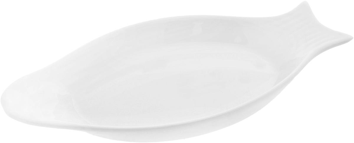 Блюдо Wilmax Рыбка, 25 х 12 смVT-1520(SR)Оригинальное блюдо Wilmax Рыбка, изготовленное из фарфора с глазурованным покрытием, прекрасно подойдет для подачи нарезок, закусок и других блюд. Оно украсит ваш кухонный стол, а также станет замечательным подарком к любому празднику.Размер блюда: 25 х 12 см.