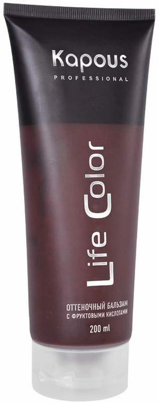 Kapous Бальзам оттеночный для волос Life Color Коричневый 200 мл72523WDKapous бальзам оттеночный для волос Life Color Коричневый - это идеальное обновляющее косметическое средство для окрашенных волос, интенсивно освежающее их цвет и придающее дополнительный блеск уже окрашенным волосам.Коричневый - идеальный цвет для окрашенных в темные цвета волос, также придает мягкий оттенок натуральным волосам. Бальзам выполняет все необходимые функции по восстановлению и защите волос от вредного воздействия внешних негативных факторов. Тем самым, бальзам делает натуральный цвет волос еще более насыщенным, возвращает им эластичность и обладает антистатическим эффектом, значительно облегчающим процесс расчесывания.Входящие в состав бальзама УФ - фильтры предотвращают потускнение и выгорание яркого цвета волос, под воздействием солнечных лучей.Бальзам не содержит аммиака и перекиси водорода, поэтому его можно применять так часто, как Вы захотите. При регулярном применении бальзама волосы приобретают насыщенный глубокий цвет, получают необходимое питание и восстанавливают естественный энергетический баланс. Даже самые поврежденные волосы улучшат свою структуру и внешний вид.Результат: Оттеночный бальзам придает волосам глубокий и выразительный оттенок.