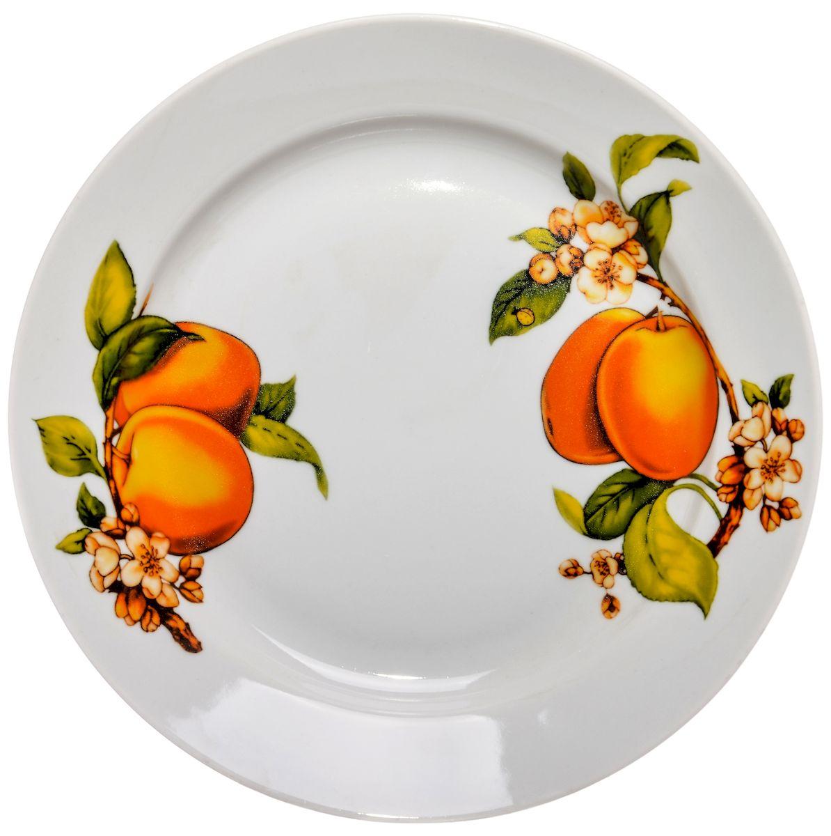Тарелка для горячего Дулевский фарфор Абрикосы, 24 см54 009312Посуду можно использовать в СВЧ и мыть в посудомоечных машинах. Не рекомендуется использовать абразивные моющие средства.
