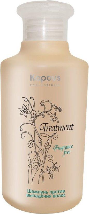 Kapous Treatment Шампунь против выпадения волос 250 млFS-00897Шампунь против выпадения волос серии Kapous Treatment - это интенсивный шампунь, который содержит эффективные ингредиенты и натуральные лечебные экстракты для предотвращения выпадения волос. Экстракт шишек хмеля укрепляет волосяные луковицы, предотвращает выпадение волос, улучшает обменные процессы в эпидермисе, стимулирует местное кровообращение и лимфоток.Комбинация аминокислот восстанавливает структуру волос, питает волосы витаминами и микроэлементами необходимыми для их роста, тем самым придает им здоровый внешний вид, эластичность и блеск. Входящая в состав молочная кислота обладает антисептическим и бактерицидным действием, успокаивает кожу головы и обеспечивает нормальный рост здоровых волос. Волосы становятся более сильными и эластичными.