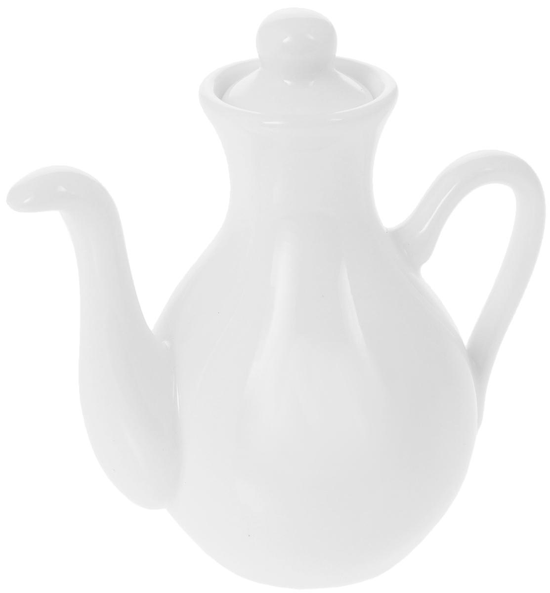 Бутылка для соуса Wilmax, 130 мл115510Бутылка для соуса Wilmax изготовлена из высококачественного фарфора, покрытого глазурью. Изделие предназначено для хранения соусов, имеет удобный носик и крышку. Такая бутылка для соуса пригодится в любом хозяйстве, она подойдет как для праздничного стола, так и для повседневного использования. Изделие функциональное, практичное и легкое в уходе. Диаметр (по верхнему краю): 3,5 см. Высота бутылки (с учетом крышки): 11 см.
