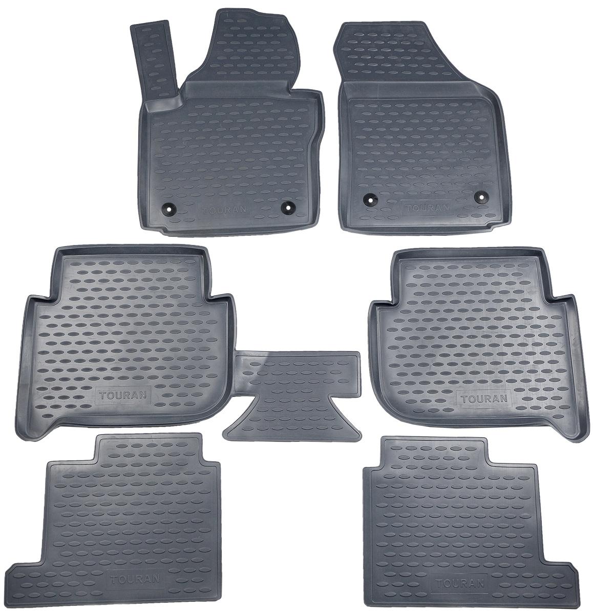 Коврики в салон автомобиля Novline-Autofamily, для Volkswagen Touran 11/2006->, 7 мест, 6 штNLC.51.20.211kКоврики в салон Novline-Autofamily не только улучшат внешний вид салона вашего автомобиля, но и надежно уберегут его от пыли, грязи и сырости, а значит, защитят кузов от коррозии. Полиуретановые коврики для автомобиля гладкие, приятные и не пропускают влагу. Автомобильные коврики в салон учитывают все особенности каждой модели и полностью повторяют контуры пола. Благодаря этому их не нужно будет подгибать или обрезать. И самое главное - они не будут мешать педалям.Полиуретановые автомобильные коврики для салона произведены из высококачественного материала, который держит форму и не пачкает обувь. К тому же, этот материал очень прочный (его, к примеру, не получится проткнуть каблуком).Некоторые автоковрики становятся источником неприятного запаха в автомобиле. С полиуретановыми ковриками Novline-Autofamily вы можете этого не бояться.Коврики для автомобилей надежно крепятся на полу и не скользят, что очень важно во время движения, особенно для водителя.Коврики из полиуретана надежно удерживают грязь и влагу, при этом всегда выглядят довольно опрятно. И чистятся они очень просто: как при помощи автомобильного пылесоса, так и различными моющими средствами.