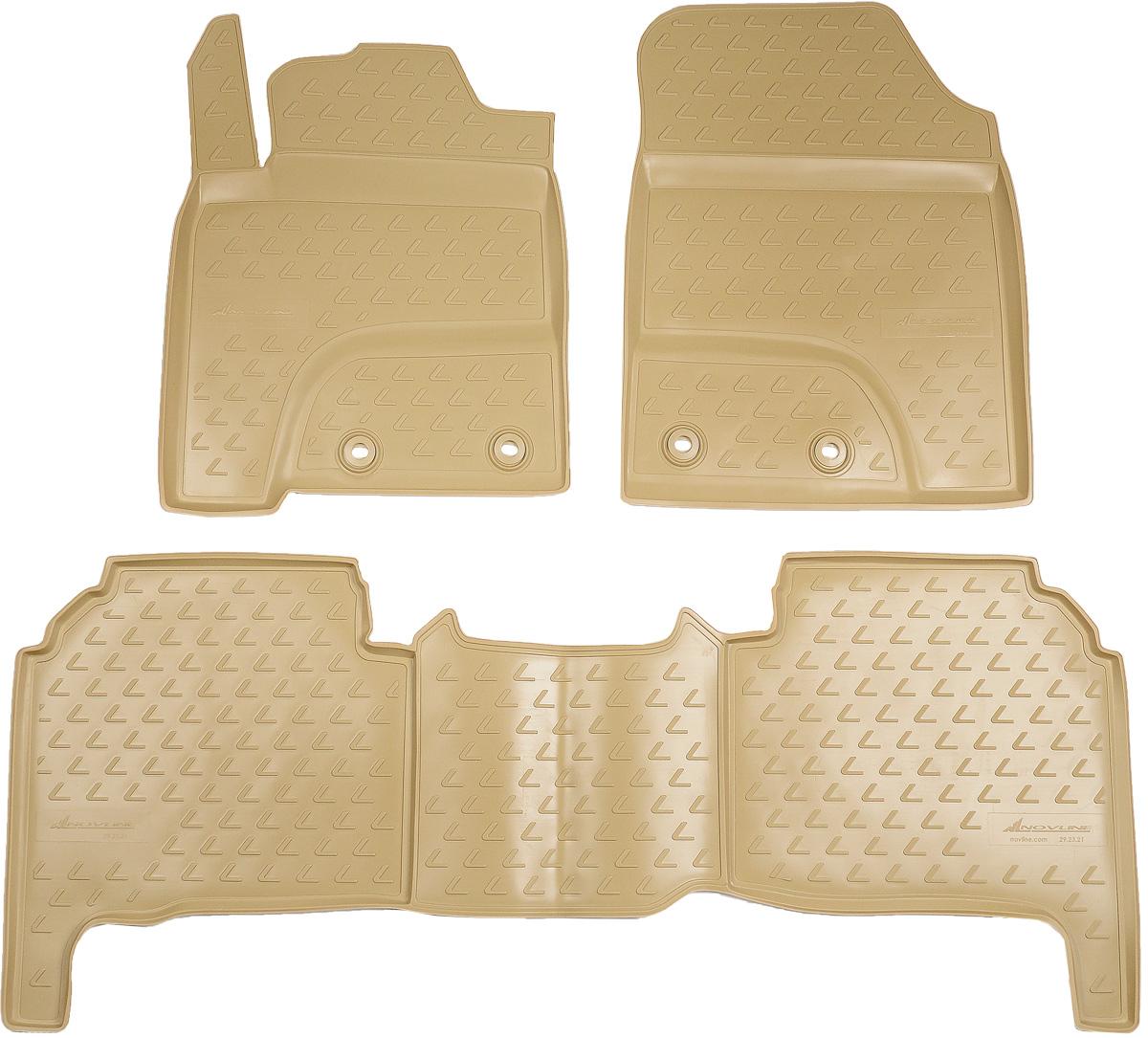 Коврики в салон автомобиля Novline-Autofamily, для Lexus LX570 2012->, 5 мест, 3 штTEMP-05Коврики в салон Novline-Autofamily не только улучшат внешний вид салона вашего автомобиля, но и надежно уберегут его от пыли, грязи и сырости, а значит, защитят кузов от коррозии. Полиуретановые коврики для автомобиля гладкие, приятные и не пропускают влагу. Автомобильные коврики в салон учитывают все особенности каждой модели и полностью повторяют контуры пола. Благодаря этому их не нужно будет подгибать или обрезать. И самое главное - они не будут мешать педалям.Полиуретановые автомобильные коврики для салона произведены из высококачественного материала, который держит форму и не пачкает обувь. К тому же, этот материал очень прочный (его, к примеру, не получится проткнуть каблуком).Некоторые автоковрики становятся источником неприятного запаха в автомобиле. С полиуретановыми ковриками Novline-Autofamily вы можете этого не бояться.Коврики для автомобилей надежно крепятся на полу и не скользят, что очень важно во время движения, особенно для водителя.Коврики из полиуретана надежно удерживают грязь и влагу, при этом всегда выглядят довольно опрятно. И чистятся они очень просто: как при помощи автомобильного пылесоса, так и различными моющими средствами.