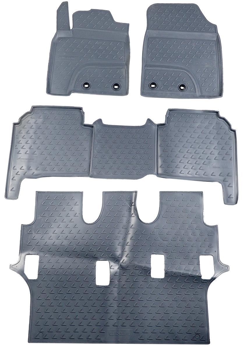 Коврики в салон автомобиля Novline-Autofamily, для Lexus LX570 2012-> 7 мест, 4 штTEMP-05Коврики в салон Novline-Autofamily не только улучшат внешний вид салона вашего автомобиля, но и надежно уберегут его от пыли, грязи и сырости, а значит, защитят кузов от коррозии. Полиуретановые коврики для автомобиля гладкие, приятные и не пропускают влагу. Автомобильные коврики в салон учитывают все особенности каждой модели и полностью повторяют контуры пола. Благодаря этому их не нужно будет подгибать или обрезать. И самое главное - они не будут мешать педалям.Полиуретановые автомобильные коврики для салона произведены из высококачественного материала, который держит форму и не пачкает обувь. К тому же, этот материал очень прочный (его, к примеру, не получится проткнуть каблуком).Некоторые автоковрики становятся источником неприятного запаха в автомобиле. С полиуретановыми ковриками Novline-Autofamily вы можете этого не бояться.Коврики для автомобилей надежно крепятся на полу и не скользят, что очень важно во время движения, особенно для водителя.Коврики из полиуретана надежно удерживают грязь и влагу, при этом всегда выглядят довольно опрятно. И чистятся они очень просто: как при помощи автомобильного пылесоса, так и различными моющими средствами.