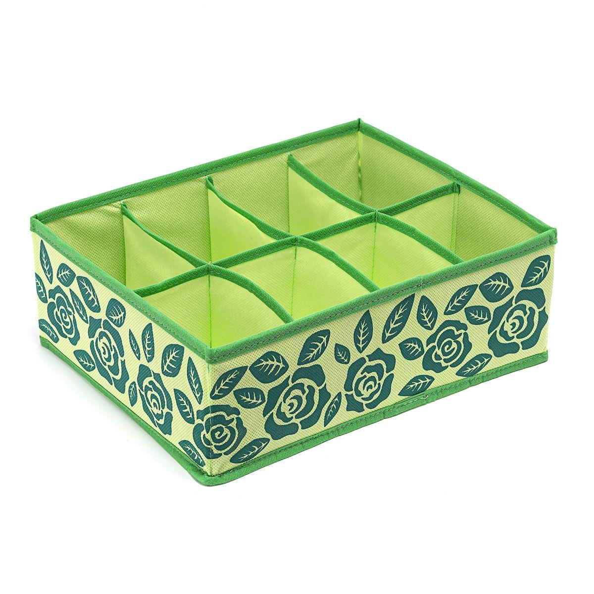 Органайзер для хранения Homsu Green Flower, 8 секций , 31 х 24 х 11 смTD 0033Компактный органайзер Homsu Green Flower изготовлен из высококачественного полиэстера, который обеспечивает естественную вентиляцию. Материал позволяет воздуху свободно проникать внутрь, но не пропускает пыль. Органайзер отлично держит форму, благодаря вставкам из плотного картона. Изделие имеет 8 секций для хранения нижнего белья, колготок, носков и другой одежды.Такой органайзер позволит вам хранить вещи компактно и удобно.