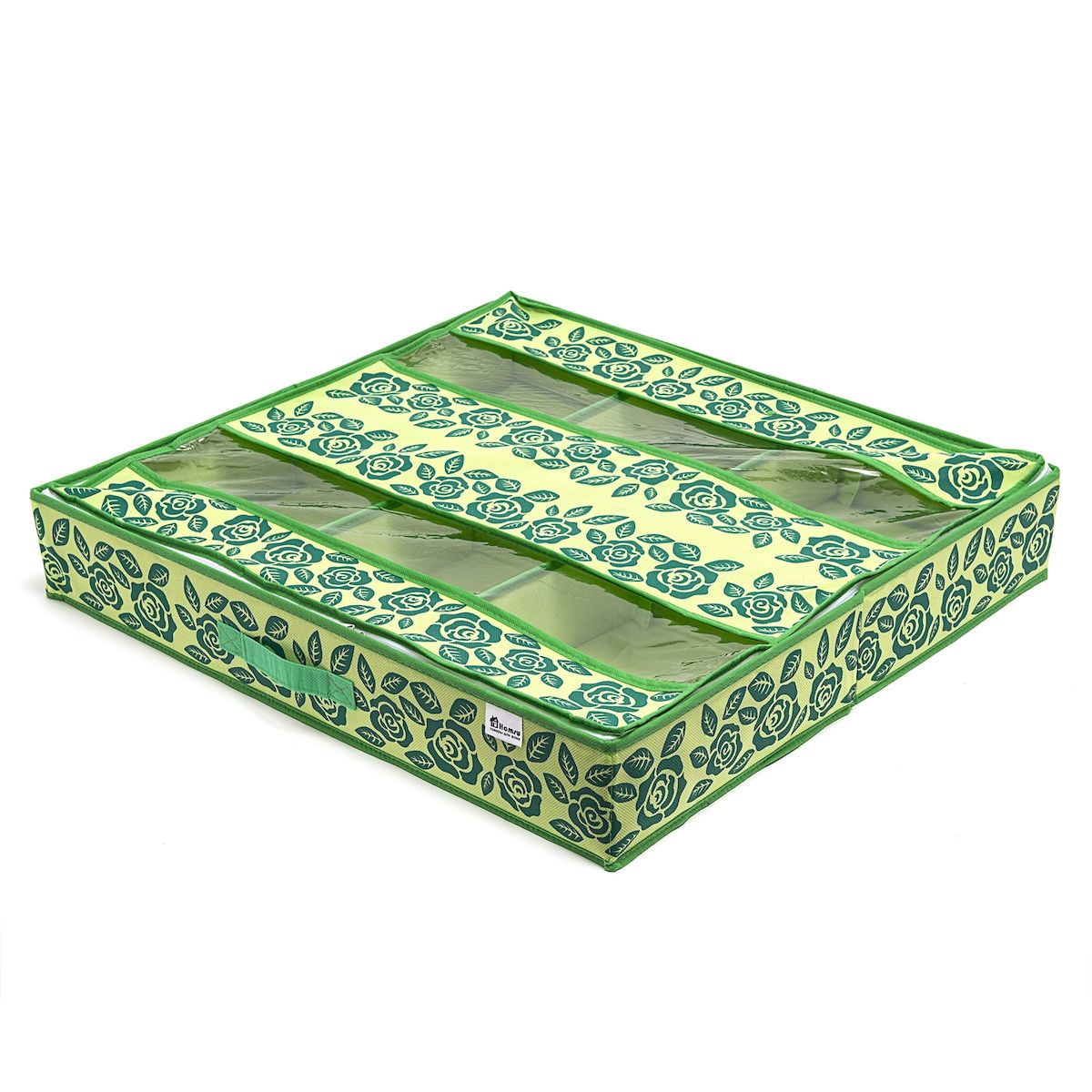 Органайзер для обуви Homsu Green Flower, 66 х 63 х 11 смHOM-382Органайзер для обуви Homsu Green Flower изготовлен из 100% полиэстера. Экономичная замена пластиковым пакетам и громоздким коробкам. Органайзер закрывается на молнию. Имеется ручка для удобной переноски. Внутри органайзер разделен на 6 отделений для обуви. Внутренние секции можно моделировать под размеры обуви, например высокие сапоги. Органайзер плоский, удобно хранить под кроватью или диваном.Размер: 66 х 63 х 11 см.