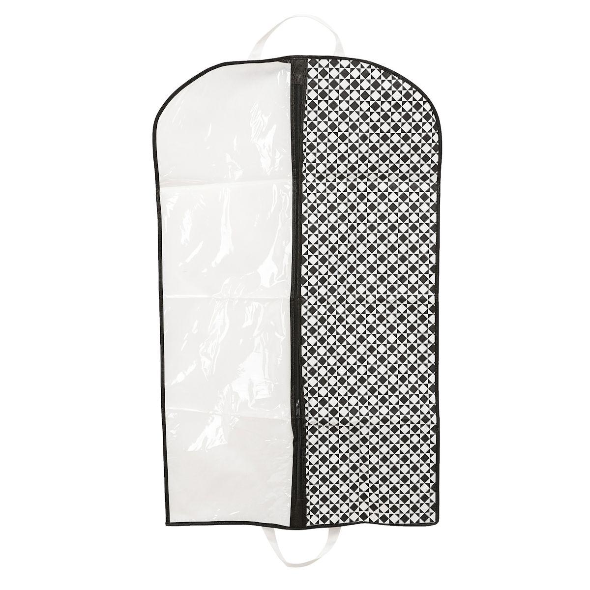 Чехол для одежды Homsu Maestro, подвесной, с прозрачной вставкой, 100 х 60 см1092019Подвесной чехол для одежды Homsu Maestro на застежке-молнии выполнен из высококачественного нетканого материала. Чехол снабжен прозрачной вставкой из ПВХ, что позволяет легко просматривать содержимое. Изделие подходит для длительного хранения вещей.Чехол обеспечит вашей одежде надежную защиту от влажности, повреждений и грязи при транспортировке, от запыления при хранении и проникновения моли. Чехол позволяет воздуху свободно поступать внутрь вещей, обеспечивая их кондиционирование. Это особенно важно при хранении кожаных и меховых изделий.Чехол для одежды Homsu Maestro создаст уютную атмосферу в гардеробе. Лаконичный дизайн придется по вкусу ценительницам эстетичного хранения и сделают вашу гардеробную изысканной и невероятно стильной.Размер чехла: 100 х 60 см.