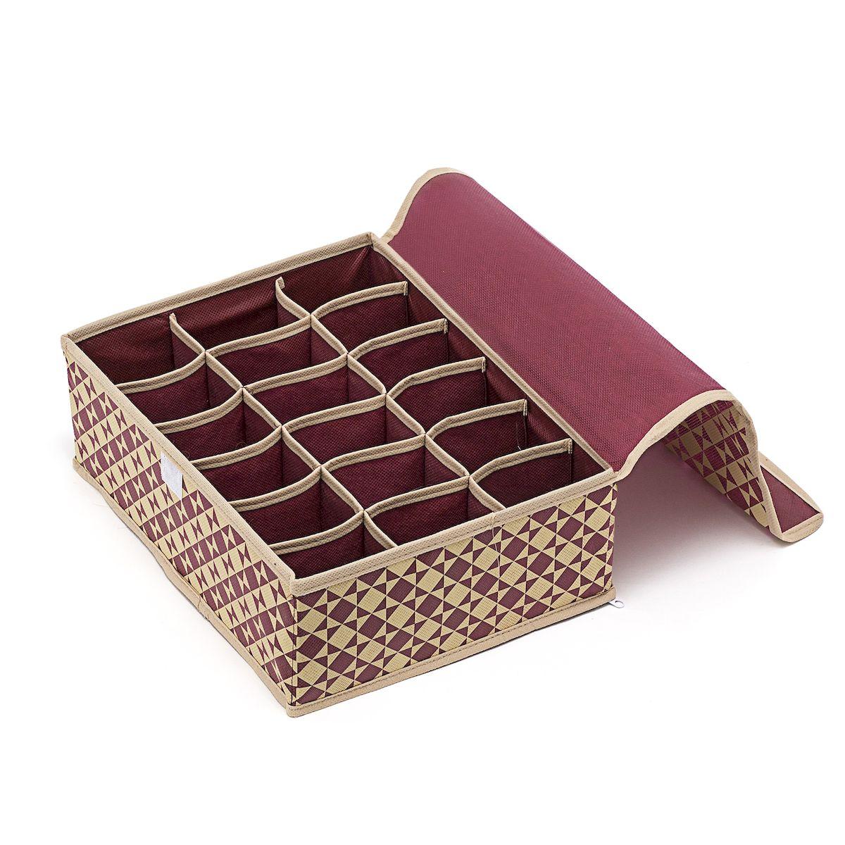 Органайзер для хранения вещей Homsu Bordo, 18 секций, 31 х 24 х 11 смEX-S15Компактный складной органайзер Homsu Bordo изготовлен из высококачественного полиэстера, который обеспечивает естественную вентиляцию. Материал позволяет воздуху свободно проникать внутрь, но не пропускает пыль. Органайзер отлично держит форму, благодаря вставкам из плотного картона. Изделие имеет 18 квадратных секций для хранения нижнего белья, колготок, носков и другой одежды. Закрывается крышкой на молнии. Такой органайзер позволит вам хранить вещи компактно и удобно, а оригинальный дизайн сделает вашу гардеробную красивой и невероятно стильной.