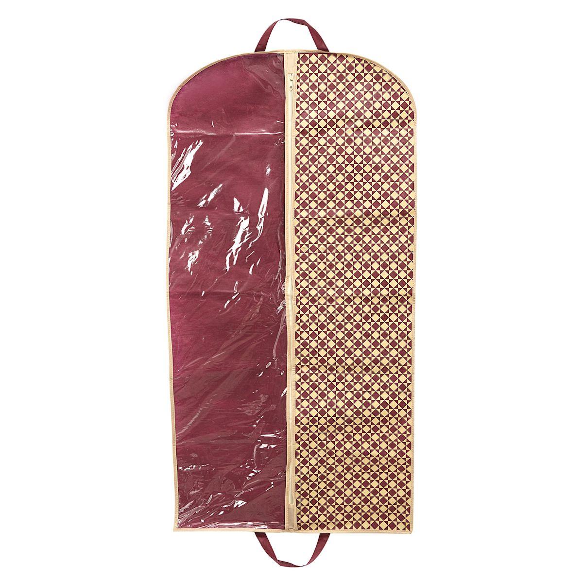 Чехол для одежды Homsu Bordo, подвесной, с прозрачной вставкой, 120 х 60 см74-0060Подвесной чехол для одежды Homsu Bordo на застежке-молнии выполнен из высококачественного нетканого материала. Чехол снабжен прозрачной вставкой из ПВХ, что позволяет легко просматривать содержимое. Изделие подходит для длительного хранения вещей.Чехол обеспечит вашей одежде надежную защиту от влажности, повреждений и грязи при транспортировке, от запыления при хранении и проникновения моли. Чехол позволяет воздуху свободно поступать внутрь вещей, обеспечивая их кондиционирование. Это особенно важно при хранении кожаных и меховых изделий.Чехол для одежды Homsu Bordo создаст уютную атмосферу в гардеробе. Лаконичный дизайн придется по вкусу ценительницам эстетичного хранения и сделают вашу гардеробную изысканной и невероятно стильной.Размер чехла: 120 х 60 см.