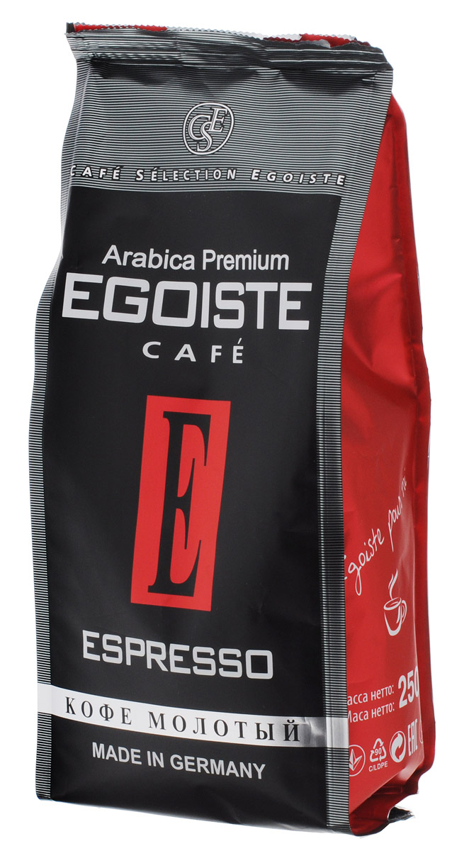 Egoiste Espresso кофе молотый, 250 г0120710Венская обжарка придает кофе Egoiste Espresso глубокий, насыщенный вкус настоящего итальянского эспрессо. Кофе с самым богатым ароматом, рекомендующийся для приготовления в кофеварке или кофе-машине.