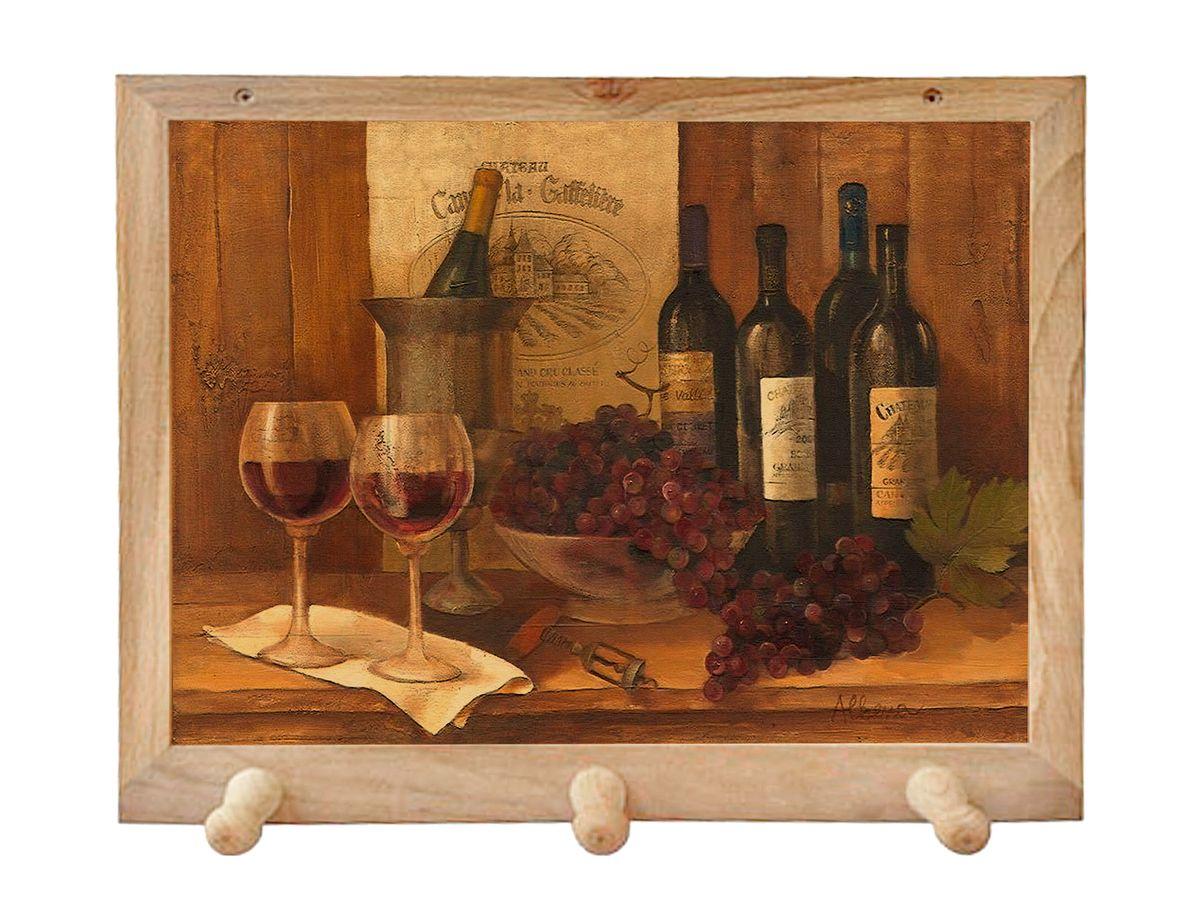 Вешалка GiftnHome Винтажные вина, с 3 крючками, 38 х 34 см1004900000360Вешалка GiftnHome Винтажные вина в стиле Art-Casual изготовлена из натурального дерева в комбинации с модными цветными принтами на корпусе от Креативной студии AntonioK. Вешалка снабжена 3 крючками для подвешивания аксессуаров, полотенец, прихваток и другого текстиля. Это изделие больше, чем просто вешалка, оно несет интерьерное решение, задает настроение и стиль на вашей кухне, столовой или дачнойверанде. Art-Casual значит буквально повседневное искусство. Это новый стиль предложения обычных домашних аксессуаров в качестве элементов, задающих стиль и шарм окружающего пространства. Уникальное сочетание привычной функциональности и декоративной, интерьерной функции - это актуальная, современная тенденция от прогрессивных производителей товаров для дома.