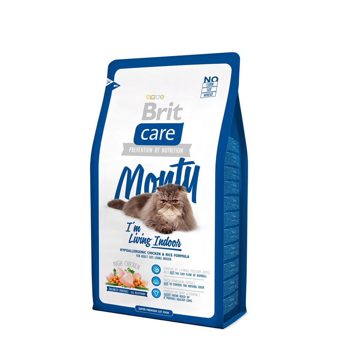 Корм сухой для кошек живущих в квартире Brit Care Monty Indoor, 7 кг0120710Гипоаллергенный корм с курицей и рисом для взрослых кошек, живущих в доме Brit Care Monty Indoor. Высокое содержание мяса. Сбалансированный минеральный состав. Облепиха крушиновидная. Гипоаллергенный состав. Витамин С и гексаметафосфат натрия.