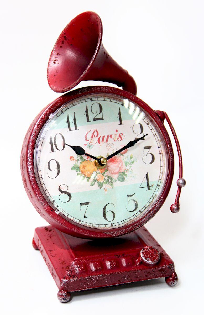 Часы настольные Magic Home Граммофон, кварцевые, цвет: красныйSC - WCD10PНастольные кварцевые часы Magic Home Граммофон изготовлены из металла, циферблат с покрытием из принтованной бумаги. Настольные часы Magic Home Граммофон прекрасно оформят интерьер дома или рабочий стол в офисе.Часы работают от одной батарейки типа АА мощностью 1,5V (не входит в комплект).