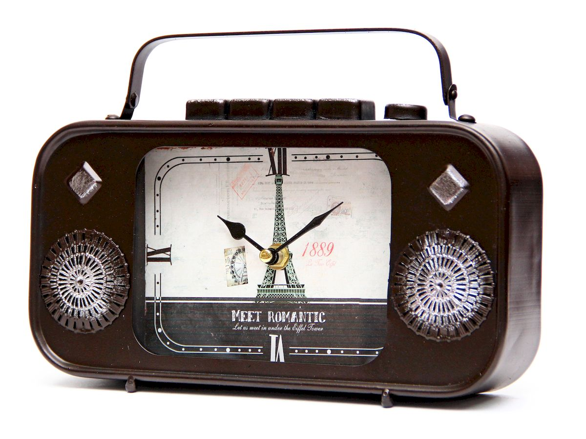 Часы настольные Magic Home Радио, кварцевые, цвет: черный94672Настольные кварцевые часы Magic Home Радио изготовлены из металла черного цвета, циферблат из черного металла с покрытием из принтованной бумаги. Настольные часы Magic Home Радио прекрасно оформят интерьер дома или рабочий стол в офисе.Часы работают от одной батарейки типа АА мощностью 1,5V (не входит в комплект).