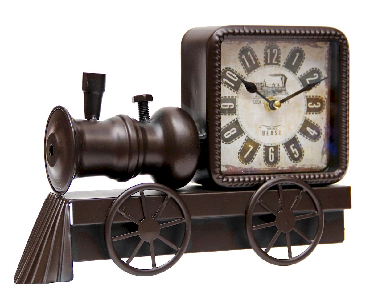 Часы настольные Magic Home Паровоз, кварцевые, цвет: черныйм.297 80х190Настольные кварцевые часы Magic Home Паровоз изготовлены из металла черного цвета, циферблат с покрытием из принтованной бумаги. Настольные часы Magic Home Паровоз прекрасно оформят интерьер дома или рабочий стол в офисе.Часы работают от одной батарейки типа АА мощностью 1,5V (не входит в комплект).