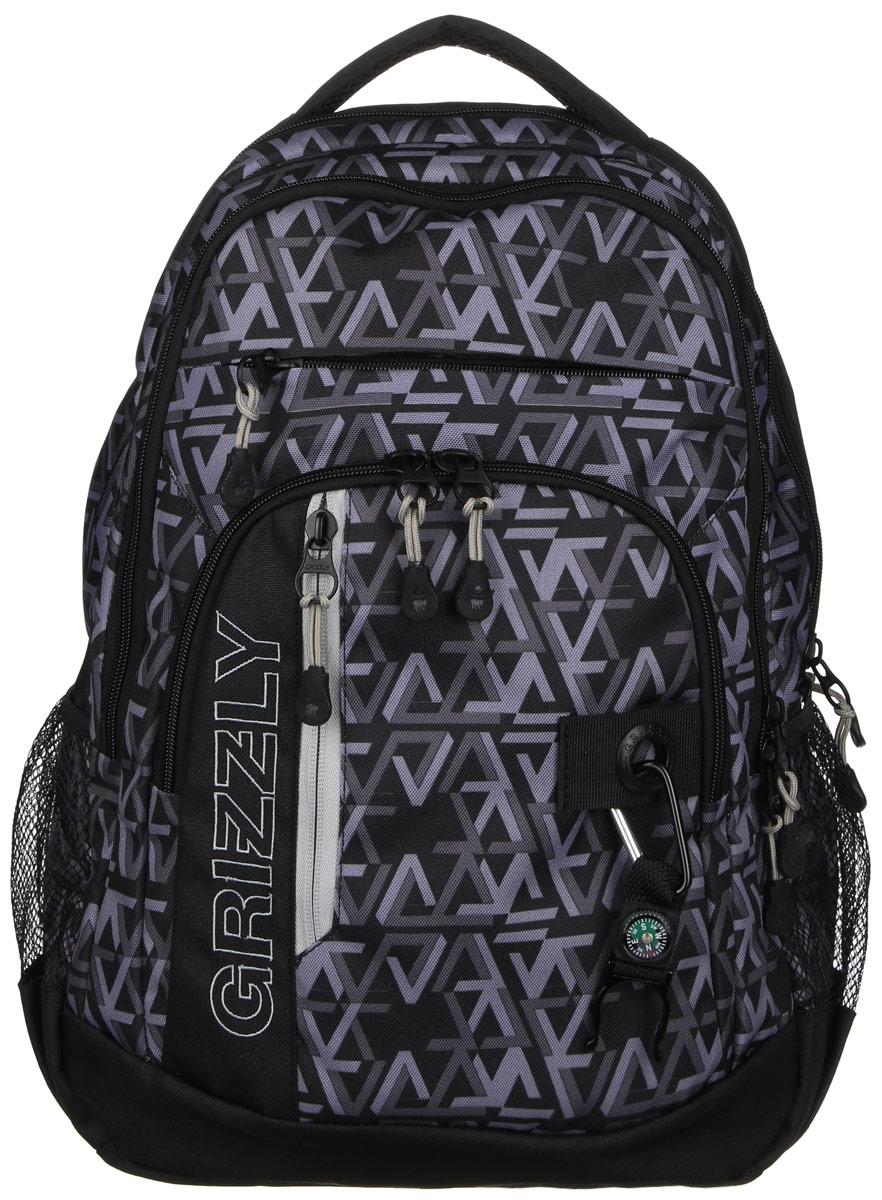 Рюкзак городской Grizzly, цвет: черный, серый, 20 л. RU-610-1/4 чемодан grizzly цвет фиолетовый черный 40 л lt 595 20 3