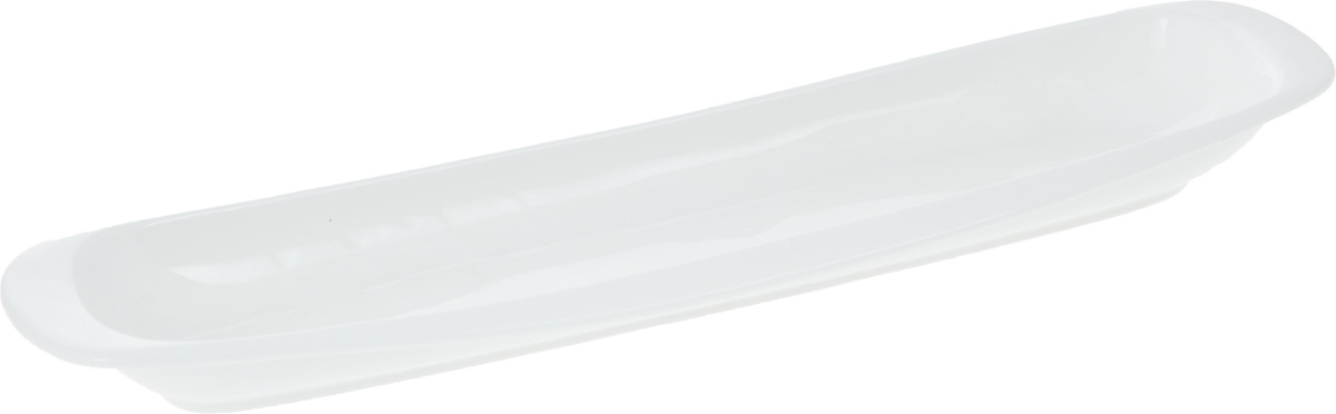 Блюдо Wilmax, 32,5 х 8,5 смVT-1520(SR)Оригинальное блюдо Wilmax, изготовленное из фарфора с глазурованным покрытием, прекрасноподойдет для подачи нарезок, закусок и других блюд. Фарфор от Wilmax изготовлен по уникальному рецепту из сплава магния и алюминия, благодаря чему посуда обладает характерной белизной, прочностью и устойчивостью к сколами. Особый состав глазури обеспечивает гладкость и блеск поверхности изделия.Оно украсит ваш кухонный стол, а также станет замечательным подарком к любому празднику.Можно мыть в посудомоечной машине и использовать в микроволновой печи. Изделие пригодно для использования в духовых печах и выдерживает температуру до 300°С.