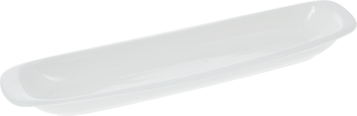 Блюдо Wilmax, 28 х 7,5 см25031990Оригинальное блюдо Wilmax, изготовленное из фарфора с глазурованным покрытием, прекрасноподойдет для подачи нарезок, закусок и других блюд. Фарфор от Wilmax изготовлен по уникальному рецепту из сплава магния и алюминия, благодаря чему посуда обладает характерной белизной, прочностью и устойчивостью к сколами. Особый состав глазури обеспечивает гладкость и блеск поверхности изделия.Оно украсит ваш кухонный стол, а также станет замечательным подарком к любому празднику.Можно мыть в посудомоечной машине и использовать в микроволновой печи. Изделие пригодно для использования в духовых печах и выдерживает температуру до 300°С.