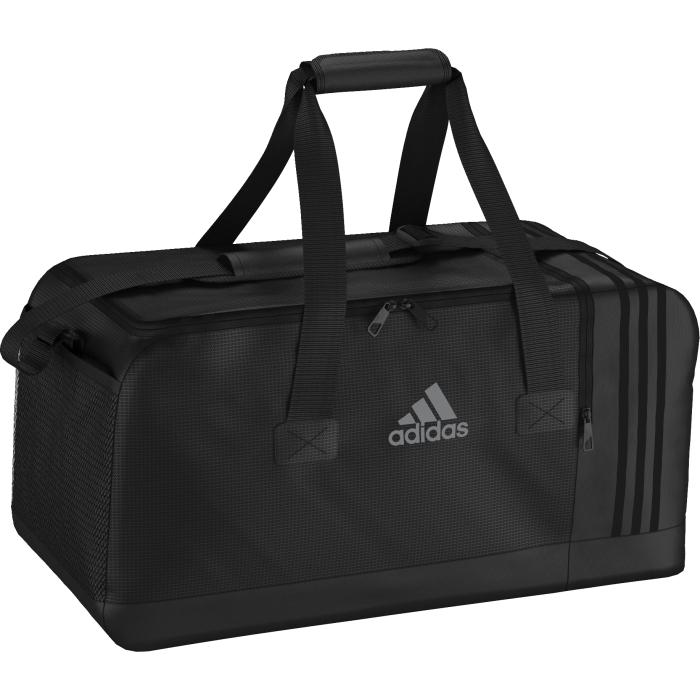 Сумка спортивная adidas 3s per tb m, цвет: черный. AJ9993AJ9993Сортивная сумка среднего размера adidas 3s per tb m с внутренними разделителями и вентилируемым отделением для обуви поможет держать экипировку в идеальном порядке. У модели двойные мягкие ручки и регулируемый наплечный ремень.