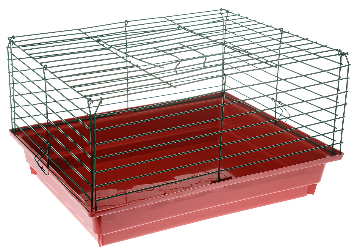 Клетка для кролика ЗооМарк, цвет: красный поддон, зеленая решетка, 50 х 35 х 30 см3336022058444 / 205844Классическая клетка ЗооМарк со сплошным дном станет уединенным личным пространством и уютным домиком для кролика. Изделие выполнено из металла и пластика. Клетка надежно закрывается на защелки. Легко чистится. Для более удобной транспортировки клетку можно сложить.