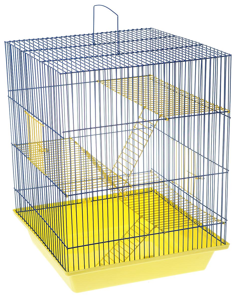 Клетка для грызунов ЗооМарк Гризли, 4-этажная, цвет: желтый поддон, синяя решетка, желтые этажи, 41 х 30 х 50 см. 240ж0120710Клетка ЗооМарк Гризли, выполненная из полипропилена и металла, подходит для мелких грызунов. Изделие четырехэтажное. Клетка имеет яркий поддон, удобна в использовании и легко чистится. Сверху имеется ручка для переноски.Такая клетка станет уединенным личным пространством и уютным домиком для маленького грызуна.