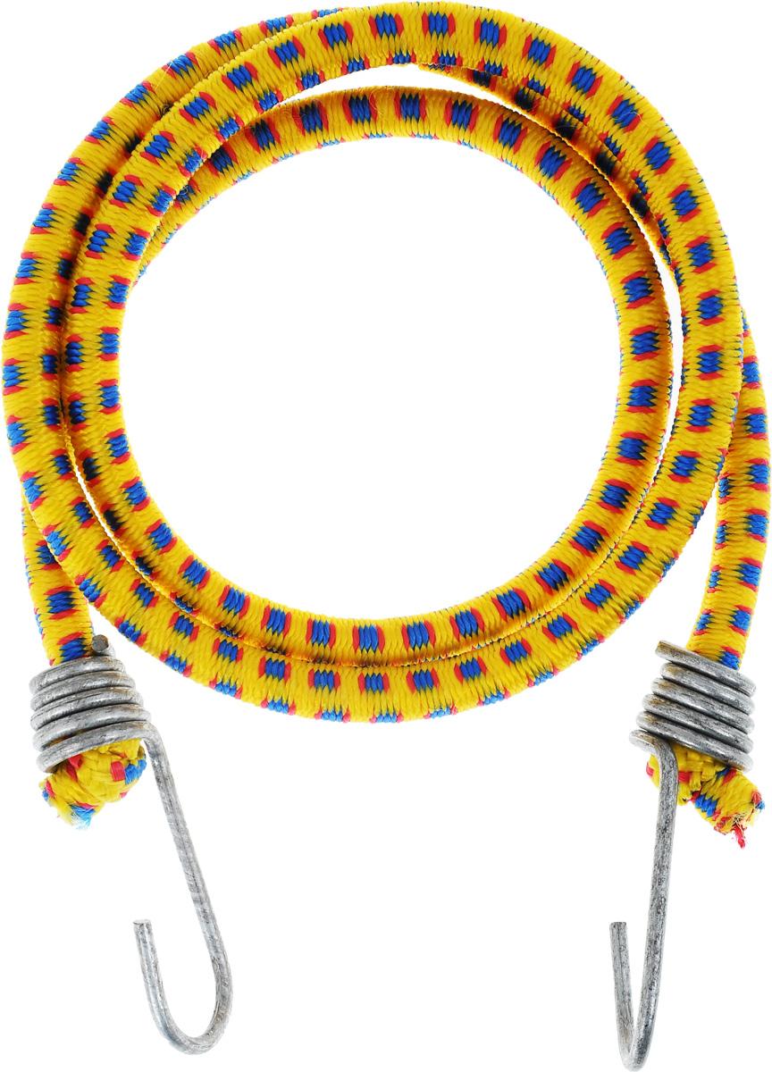 Резинка багажная МастерПроф, с крючками, цвет: желтый, синий, красный, 1 х 110 смCA-3505Багажная резинка МастерПроф, выполненная из натурального каучука, оснащена специальными металлическими крючками, которые обеспечивают прочное крепление и не допускают смещения груза во время его перевозки. Изделие применяется для закрепления предметов к багажнику. Такая резинка позволит зафиксировать как небольшой груз, так и довольно габаритный.Температура использования: -15°C до +50°C.Безопасное удлинение: 60%.Диаметр резинки: 1 см.Длина резинки: 110 см.