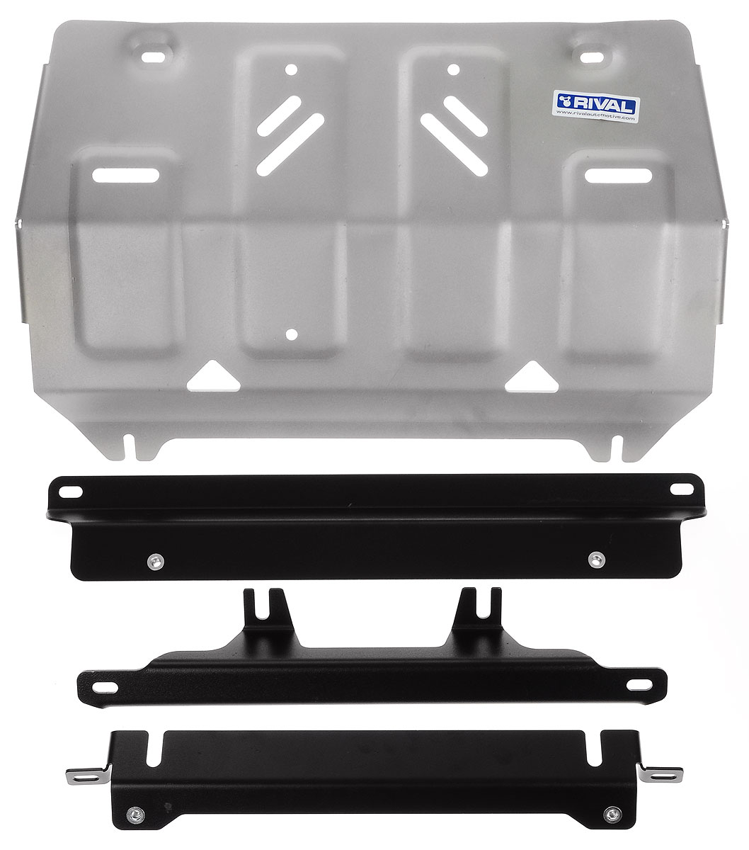 Защита картера Rival, для Mitsubishi L200. 333.4040.1K100Защита радиатора для Mitsubishi L200 4WD , V - 2,4DID; 2,4DID H.P. 2015-, крепеж в комплекте, алюминий 4 мм, Rival. Надежно защищают днище вашего автомобиля от повреждений, например при наезде на бордюры, а также выполняют эстетическую функцию при установке на высокие автомобили.- Толщина алюминиевых защит в 2 раза толще стальных, а вес при этом меньше до 30%.- Отлично отводит тепло от двигателя своей поверхностью, что спасает двигатель от перегрева в летний период или при высоких нагрузках.- В отличие от стальных, алюминиевые защиты не поддаются коррозии, что гарантирует срок службы защит более 5 лет.- Покрываются порошковой краской, что надолго сохраняет первоначальный вид новой защиты и защищает от гальванической коррозии.- Глубокий штамп дополнительно усиливает конструкцию защиты.- Подштамповка в местах крепления защищает крепеж от срезания.- Технологические отверстия там, где они необходимы для смены масла и слива воды, оборудованные заглушками, надежно закрепленными на защите.Уважаемые клиенты!Обращаем ваше внимание, на тот факт, что защита имеет форму, соответствующую модели данного автомобиля. Фото служит для визуального восприятия товара.