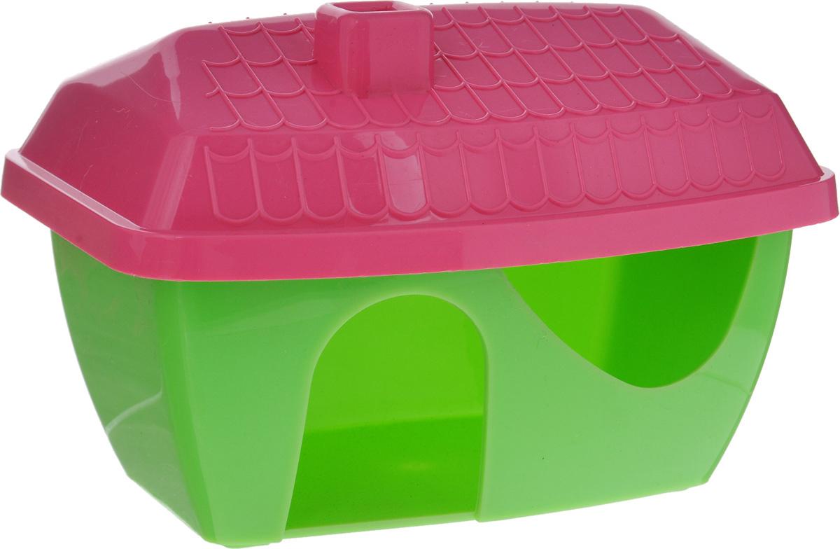Домик для грызунов ЗооМарк, цвет: зеленое основание, розовая крыша, 16 х 11 х 10 см901_зеленый, розовыйДомик для грызунов ЗооМарк выполнен из цветного пластика, он полностью безопасен и безвреден для здоровья, не выделяетхимических веществ, не впитывает запахи и отлично моется при помощи моющих средств. Каждый хомячок или мышка мечтают особственной уютной спаленке. Вы можете предоставить своему любимцу такой полезный и практичный бытовой аксессуар. Для этогодостаточно подобрать оригинальный качественный домик, который вписался бы в интерьерклетки. Домик обладает необычным дизайном с треугольной крышей яркой расцветки. Изделие оснащено удобным входом сминиатюрным козырьком. В своем закрытом уголке животное с удовольствием будет проводить время, сможет погрызть вкусняшку или простоотдохнуть.