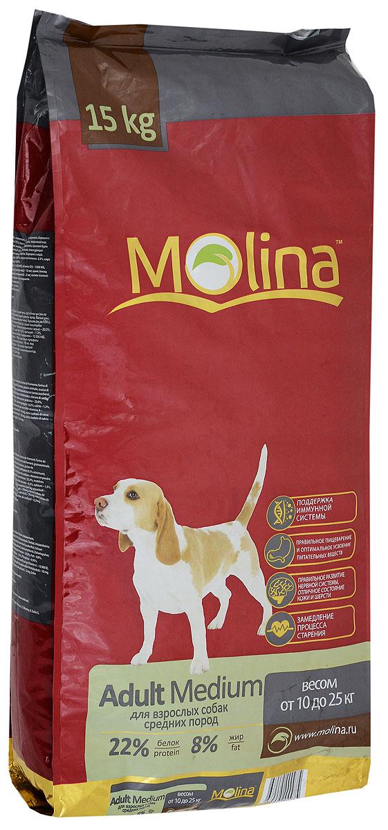 Корм сухой Molina Adult Medium для взрослых собак средних пород, 15 кг0120710Полнорационный сухой корм Molina Adult Medium предназначен для взрослых собак средних пород весом от 10 до 25 кг. Специальный комплекс витаминов и антиоксидантов способствует поддержанию иммунитета, замедляет процесс старения и защищает от последствий стресса. Содержание жирных кислот Омега-6 и Омега-3 обеспечивает правильное развитие нервной системы и отличное состояние кожи и шерсти. Вкусовая формула и состав корма позволяют оптимально усваивать питательные вещества. Товар сертифицирован.
