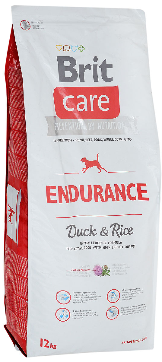 Корм сухой Brit Care Endurance для активных собак, с уткой и рисом, 12 кг8595602510368Brit Care Endurance - это полнорационный сухой корм для активных собак, расходующих много энергии. Оптимальное соотношение аминокислот (идеальный протеин) обеспечивает высокую усвояемость белков для мышечной ткани. Оказывает благоприятное влияние на кости, шерсть и хрящи.Товар сертифицирован.