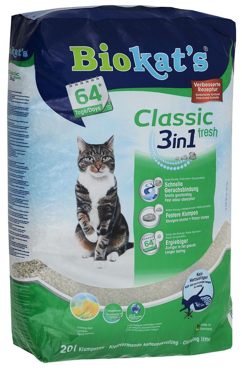 Наполнитель для кошачьего туалета Biokat's  Classic Fresh , комкующийся, с ароматом весенних трав, 20 л