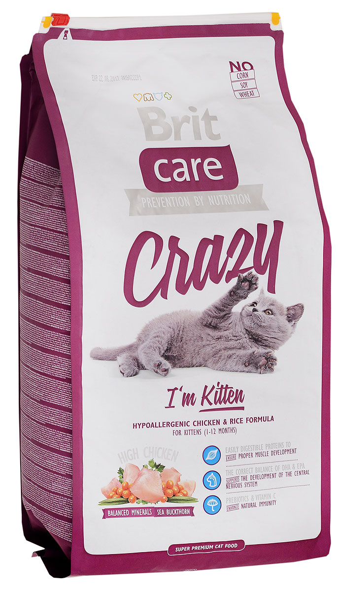 Корм сухой Brit Care Crazy для котят, беременных и кормящих кошек, с курицей и рисом, 7 кг8595602505517Гипоаллергенный корм Brit Care Crazy предназначен для котят в возрасте 1-12 месяцев, беременных и кормящих кошек. Содержит в себе большое количество мяса. Корм обладает сбалансированным минеральным составом. Включает в себя облепиху крушиновидную, витамин С и гексаметафосфат натрия.Товар сертифицирован.