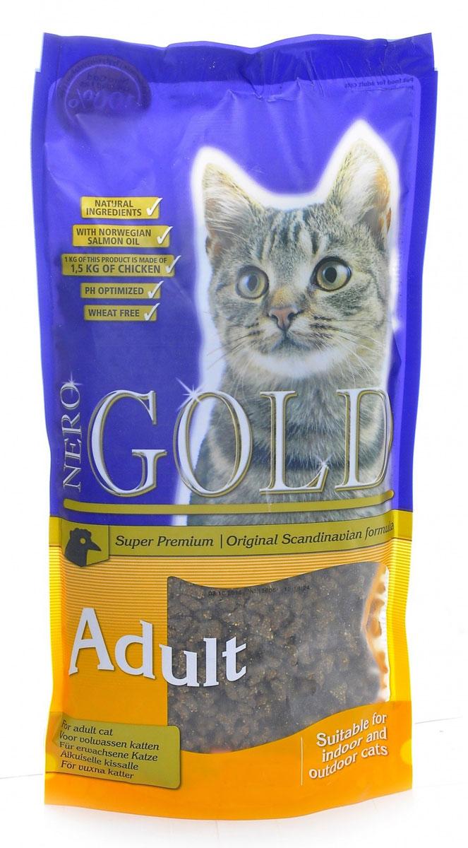Корм сухой Nero Gold Cat Adult, для кошек, курица, 2,5 кг20023Корм сухой Nero Gold Cat Adult - полнорационный сбалансированный корм Супер-премиум класса для всех кошек с курицей.Изготовлен из куриного мяса которое легко усваивается организмом и содержит необходимое количество питательных веществ, витаминов, минералов и аминокислотдля здоровья вашего питомца. Содержит оптимальное соотношениеминералов и витаминов , что способствует поддержанию высокого мышечного тонуса. Способствует сохранению природной зоркости. Способствует укреплению иммунитета. Пивные дрожжи улучшают состояние шерсти придают ей блеск и шелковистость. Льняное семя богато растительными жирами, особенно полиненасыщенными или не заменимыми жирными кислотами омега-3 и омега-6, которые благоприятно влияют практически на все процессы жизнедеятельности организма. Содержит таурин необходимый кошкам для поддержания целостности сетчатки глаза кошки, предотвращение развития сердечных заболеваний, для развития и поддержания целостности нервной ткани. Хондроитин укрепляет соединительные структуры тканей, в том числе хрящи, уменьшают мышечную утомляемость. Состав: дегидрированное мясо курицы, рис, маис, куриный жир, дегидрированная рыба, ячмень, гидролизованная куриная печень, мякоть свеклы, дрожжи, яичный порошок, рыбий жир, минералы и витамины, хондроитин, глюкозамин, лецитин (мин. 0,5 %), инулин (мин. 0,5 % FOS), таурин, холина хлорид. Пищевая ценность: протеин 32%, жиры 18%, клетчатка 2%, зола 6%, влажность 8%, фосфор 0,9%, кальций 1,4%.Пищевые добавки (на 1 кг): витамин A (E672) 20 000 IU, витамин D3 (E671) 2 000 IU, витамин E (альфа токоферола ацетат) 400 мг, витамин C (фосфат аскорбиновой кислоты) 250 мг, таурин 1000 мг/кг, сульфат железа 75 мг, иодат кальция 1,5 мг, сульфат меди 5 мг, сульфат марганца 30 мг, сульфат цинка 65 мг.Товар сертифицирован.