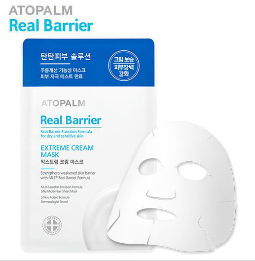 Atopalm Маска с защитным кремом для лица, Real Barrier, 28 мл5902596005818Серия средств Real Barrier содержит комплекс компонентов, которые успокаивают, восстанавливают и защищают чувствительную и сухую кожу. Серия содержит арома-комплекс для облегчения стресса, которому подвержена чувствительная кожа: корень ветивера помогает избавиться от накопленного за день стресса, лаванда успокаивает и помогает расслабиться, масло апельсина обладает ярким насыщенным фруктовым запахом, который положительно влияет на повышение эмоционального уровня. Маска изготовлена из тончайшего волокна и обильно пропитана кремом, содержащим пептиды и церамиды. Она идеально повторяет контуры лица и способствует бережному уходу за чувствительной кожей, восстанавливая защитную функцию кожи, увлажняя и повышая ее эластичность. Не содержит: парабены, минеральное масло, искусственные отдушки, искусственные красители, этанол, феноксиэтанол, бензофенон, пропилен гликоль, ПЭГ, диэтаноламин