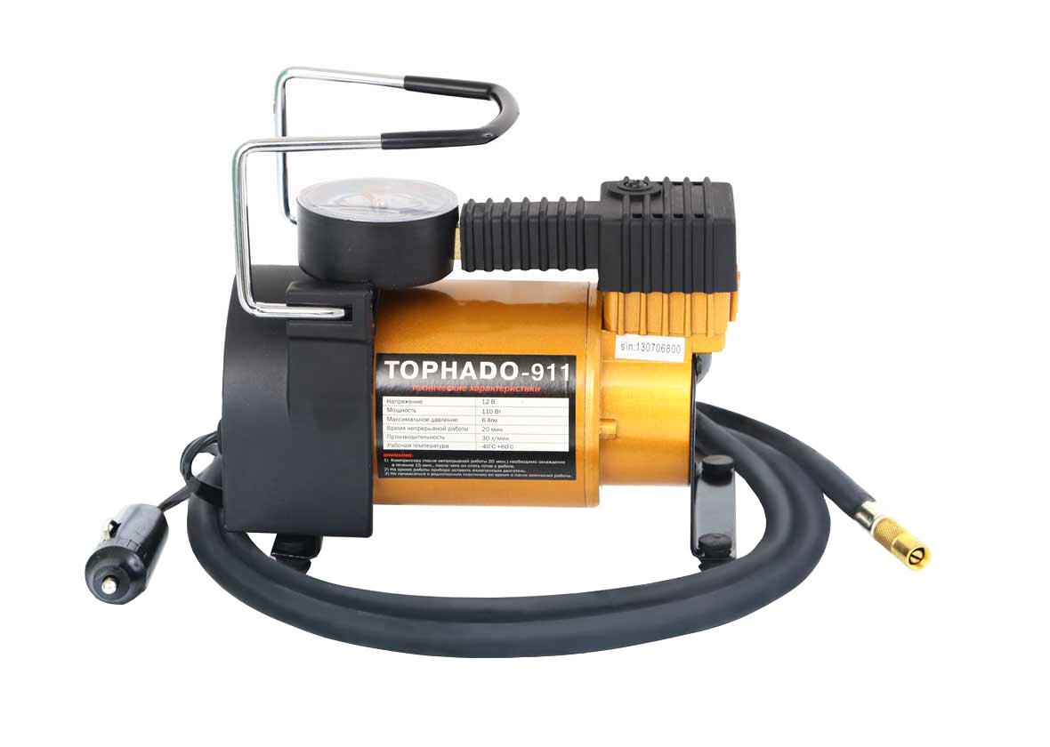 Компрессор Tornado-911 R 13-17/30LAL-300Автомобильный компрессор Tornado-911 – отличный помощник для любого автомобилиста. Компактное устройство предназначено для быстрой подкачки колес, а также может использоваться для накачивания резиновых лодок, мячей, матрасов. Компрессор отличается простотой и надежностью конструкции. Питание прибора осуществляется через гнездо прикуривателя. Автомобильный плавкий предохранитель в капсуле защитит от скачков тока в сети. Компрессор способен проработать без перерыва до 20 минут.Корпус и поршневая группа Tornado-911 сделаны из металла, что обеспечивает повышенную прочность и увеличенный ресурс компрессора.В комплект входит три насадки-переходника, которые делают компрессор универсальным в использовании.